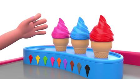 七彩甜甜圈和蛋筒冰淇淋,小朋友们边看卡通视频,边学习颜色英语