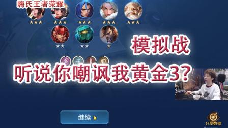嗨氏王者荣耀:模拟战听说你嘲讽我黄金3?