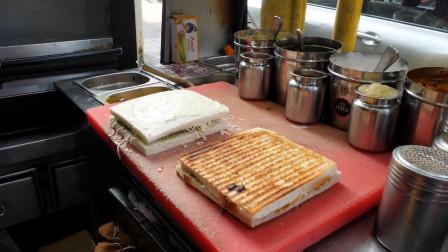 韩国街头奇葩小铺,往三明治里放青椒椰果,网友:这味道难以想象