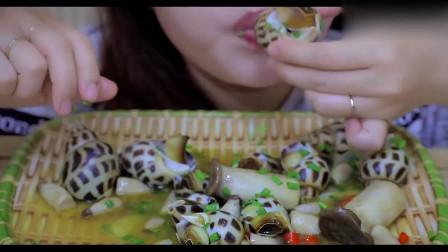 吃播大胃王:超级美味的香菇炒海螺,看卖相就想吃呀,羡慕小姐姐