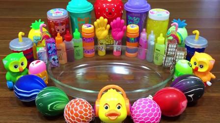 小鸭饰品+彩虹解压球+起泡胶+果冻泥+泡泡史莱姆,解压史莱姆