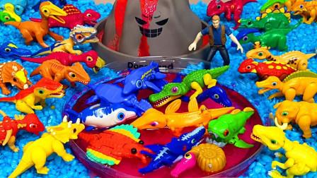拼搭植物水池玩具组成恐龙乐园