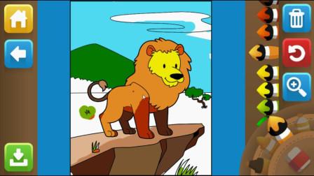 小熊巴巴涂色板 画一只狮子