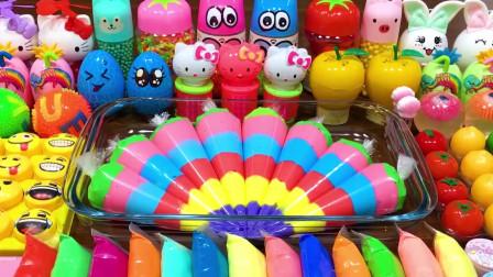 裱花袋水晶泥+彩虹黏土+水果果冻泥+亮彩饰品,效果超棒史莱姆