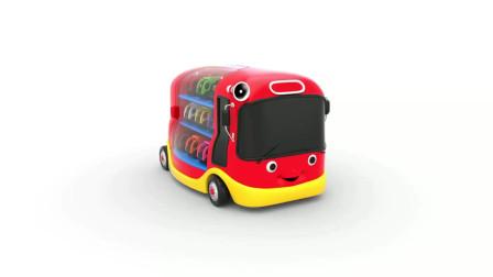 学前儿童学习早教英语,看小巴士大容量装载小车子