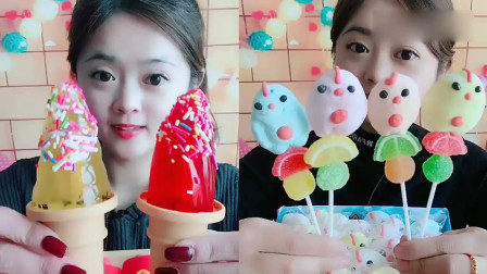 网红小姐姐直播吃果冻冰淇淋,一口下去超过瘾,太幸福了吧