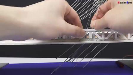 小伙手工建造一座斜拉桥,网友:这技术不去工地可惜了