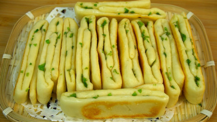 花卷最简单好吃的做法,不用蒸,一卷一切就上锅,酥脆松软真好吃