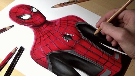 在离家很远的地方画蜘蛛侠,画的还真不赖!