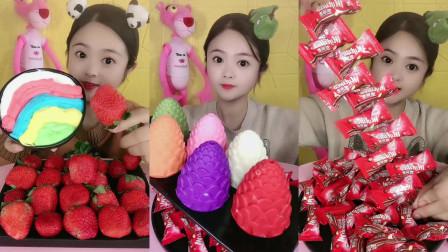 美女试吃草莓奶油酱和果冻糖,各种口味任选,看着好想吃啊!