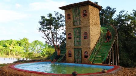 农村兄弟徒手建造3层滑梯别墅,滑下去的那一刻,简直太刺激了!
