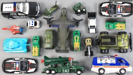 迷彩汽车警车与摩托车玩具