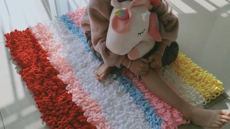 毛线编织超实用大气美观的彩虹毯结实柔软,能做脚垫,沙发垫,车垫等钩法视频