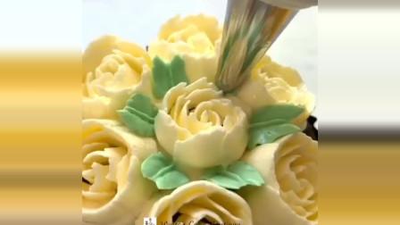 蛋糕创意无限装饰理念 如何在蛋糕上用奶油做花, 太美了