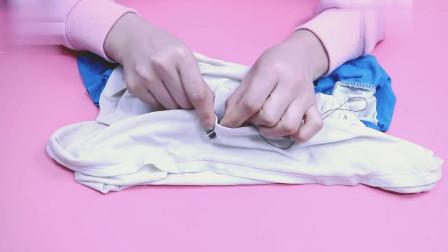 缝衣服视频:小姐姐教你缝衣服的隐形针法,轻轻一拉线头全隐藏