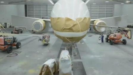 波音787客机全身被纸包裹喷漆彩绘,喷漆原理和汽车喷漆一样