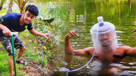 """19岁小伙用水桶制作""""潜水""""头盔,续航30分钟,10块造一个!"""