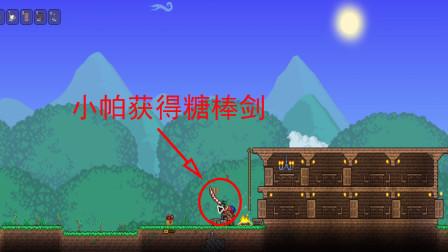 泰拉瑞亚03:小帕开礼物盒,获得了一把糖做的糖棒剑