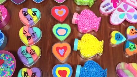 爱心米粒泥、彩虹泥、珍珠米粒泥,神秘饰品,自制无硼砂史莱姆教程水晶泥
