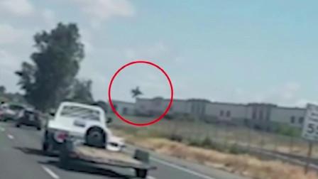 飞机坠毁前瞬间,F-16飞行员弹射逃生