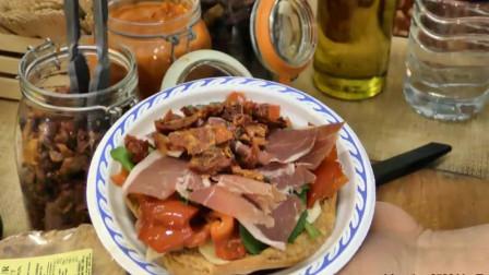 国外街头美食,帕尔马火腿和煎奶酪饼,想吃