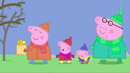 小猪佩奇:今天非常冷,看佩奇乔治都戴上了帽子呢!