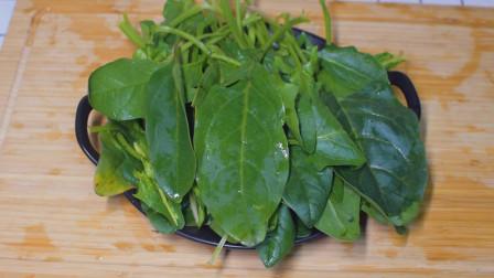 清炒菠菜的家常做法, 炒菠菜的窍门, 经常也不腻。