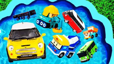孩子们的玩具启蒙早教乐园:公交车、救护车、挖掘机、吊车、吉普车、环卫车!