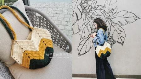 桔子家创意手工布条线扁平线菜篮子包包手提包教程