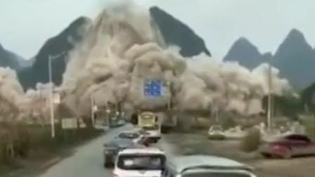 广西柳州一山体突发崩塌施工方爆破石灰岩石山引发 是正常操作