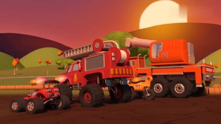 消防车麦克斯需要人帮助修建环形跑道儿童卡通动画