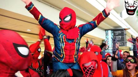 这个场景真是太壮观了,全部都是蜘蛛侠呀!