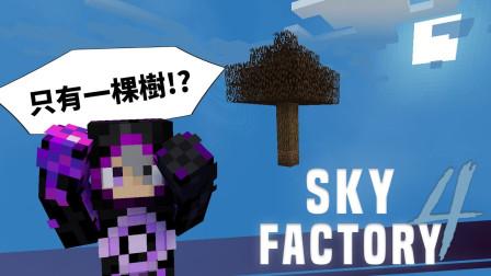 我的世界 模组包生存 - 天空工厂4 1 虚空中只有一棵树 也要生存下去