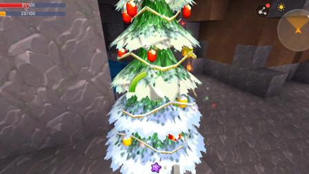迷你世界小明解说 偶遇圣诞老人,矿洞顿时不冷清了,把圣诞树拿走?