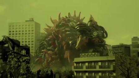 伽古拉抱住大怪兽,欧布使出了全部的奥特曼卡片,一击将其粉碎!
