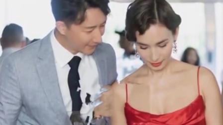 韩庚卢靖姗婚前派对曝光新娘吊带红裙性感美艳请柬文字超浪漫