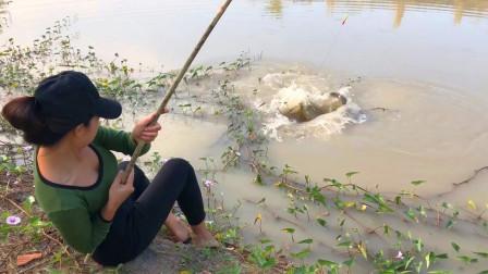三妹河沟里钓鱼,提竿就有收获,全是大鱼,太过瘾了!