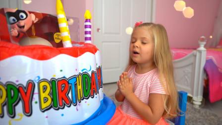 今天是萌娃小萝莉的生日,哥哥给她准备了超大的生日蛋糕,小家伙快吹蜡烛吧!