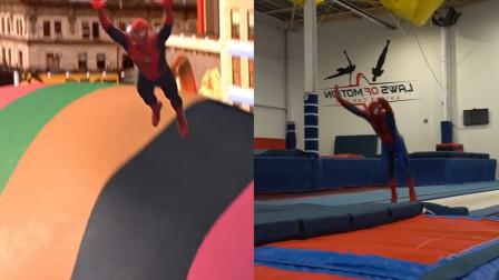 蜘蛛侠小哥哥练习电影里的每一个动作,学的还真挺像
