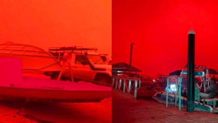 澳大利亚一小镇遭受山火袭击 实拍小镇天空被染成血红色