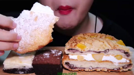 国外美女吃播:炼乳奶油面包、布朗尼小蛋糕,一口闷,看着就羡慕