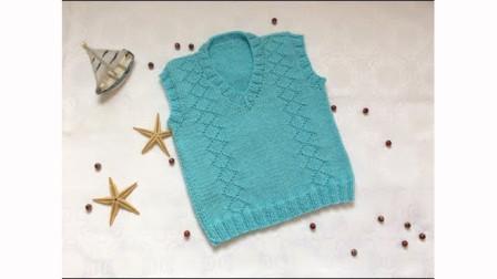 简单的婴儿背心,自下往上织,粗针粗线,简单好织,适合新手操练