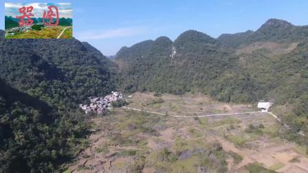 广西南宁市隆安县都结乡,每个山坳下都是一个村庄