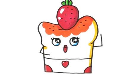 超萌草莓蛋糕卡通手账,儿童启蒙涂鸦简笔画!
