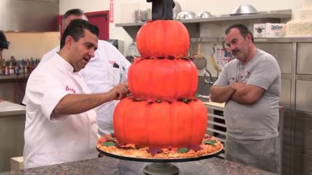 老外花了2个小时制作南瓜蛋糕,关上灯看到成品,太惊艳了