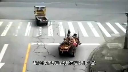 """揪心三轮车大叔怎么也料不到,会被货车的""""暗器""""所伤"""