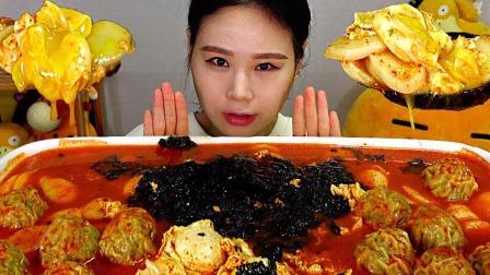 韩国大胃王吃播:Fran卡妹年糕饺子汤+糯米球豆沙面包