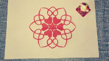 剪窗花,非常简单还漂亮的心心相印窗花