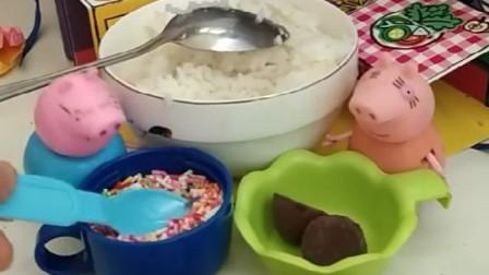 猪妈妈发明了新菜,给佩奇乔治做饭团吃,结果都被猪爸爸偷吃了