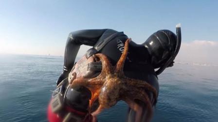 一位男子潜水出海,发觉背后很疼,最后无奈的笑了